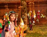 Myanmar string puppet for sale in Bagan Stock Photo
