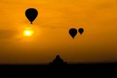 Myanmar Sunrise silhouette balloon air. In Bagan mandalay Burma Royalty Free Stock Image
