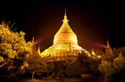 myanmar Tempel av Bagan på natten Arkivfoto