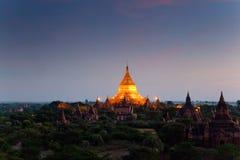 myanmar Tempel von Bagan nachts Lizenzfreie Stockfotos