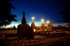 myanmar Tempie di Bagan alla notte Fotografia Stock Libera da Diritti