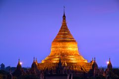 myanmar Tempie di Bagan alla notte Immagine Stock