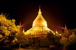 myanmar Temples de Bagan la nuit Photo stock