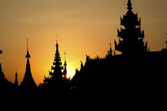 Myanmar, Temples in the sunset Stock Photography