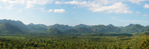 Myanmar, Thailand Border, Travel, Mountains. Panorama, panoramic, or banner image of the mountain range between Myanmar and Thailand. Asia is a popular travel Stock Images