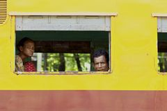 Myanmar Train Passengers Stock Images
