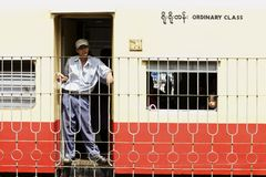 Myanmar Train Passengers Stock Photography