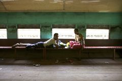 Myanmar Train Passengers Royalty Free Stock Images