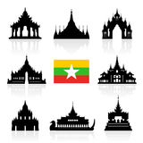 Myanmar Travel Landmarks. Vector and Illustration Royalty Free Stock Photos