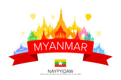Myanmar Travel Landmarks. Vector and Illustration Stock Photos