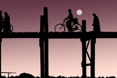 Myanmar, U Bein bridge Royalty Free Stock Photos