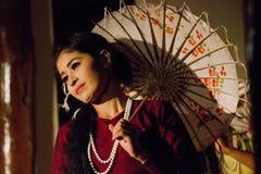 Myanmar Umbrella Dancer Stock Image