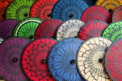 Myanmar umbrellas Royalty Free Stock Images