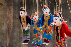 Myanmar van de koordmarionet traditiepoppen Royalty-vrije Stock Afbeeldingen
