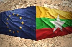 Myanmar y unión europea stock de ilustración