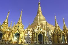 Myanmar, Yangon: De pagode van Shwedagon Stock Afbeeldingen