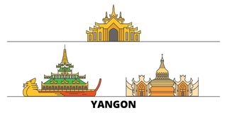 Myanmar, Yangon flat landmarks vector illustration. Myanmar, Yangon line city with famous travel sights, skyline, design. Myanmar, Yangon flat landmarks vector vector illustration