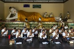 Myanmar - Yangon - THE GREAT SHWEDAGON PAGODA. Daily religious ceremony for health and lucky royalty free stock photography