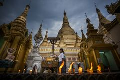 Myanmar - Yangon - THE GREAT SHWEDAGON PAGODA. The quiet moment of the evening royalty free stock photos