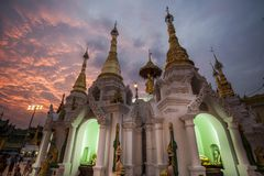 Myanmar - Yangon - THE GREAT SHWEDAGON PAGODA. The quiet moment of the evening royalty free stock photo
