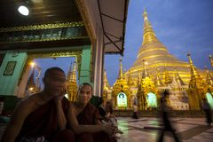Myanmar - Yangon - THE GREAT SHWEDAGON PAGODA. The quiet moment of the evening stock photos