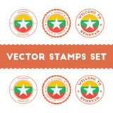 Myanmarian flag rubber stamps set. Royalty Free Stock Photos