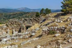 Mycenae археологическое место в дворце Greece стоковые фото
