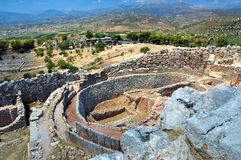 Mycenae. View form the Acropolis  . Mycenae , an archaeological site in Peloponnese , Greece Royalty Free Stock Photo