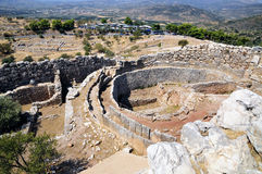 Mycenae. A ruins to antique fortress and tsarist palace Atreus and Agamemnon Royalty Free Stock Photo