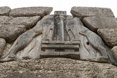 Mycenae archaeological site in Greece stock images