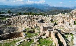 Mycenae arkeologiskt ställe i Grekland Arkivfoton