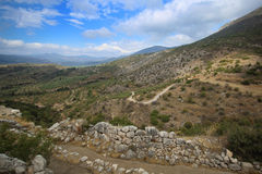 Mycenae e ruínas da cidade antiga Fotografia de Stock Royalty Free