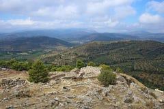 Mycenae e ruínas da cidade antiga Imagens de Stock Royalty Free