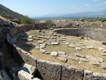 Mycenae, een dichte blik bij de oude stenen stock fotografie