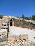 Mycenae, entrance to the tomb of Agamemnon stock image