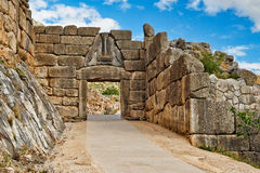 Mycenae, Greece. The road to Lion Gate 1.240 B.C. Mycenae, Greece Stock Image