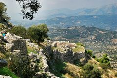 Mycenae. View form the Acropolis . Mycenae , an archaeological site in Peloponnese , Greece Royalty Free Stock Photography