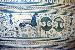 Mycenaean art pottery animal figure decoration. Detail Stock Image