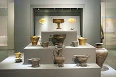 Mycenaean gold in museum of archaeology, Athens, Greece Stock Photo