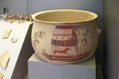 Mycenaean pottery in museum of archaeology, Athens, Greece Stock Images