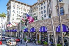 Mycket berömt och exklusivt hotell - Beverly Wilshire - LOS ANGELES - KALIFORNIEN - APRIL 20, 2017 Arkivfoton