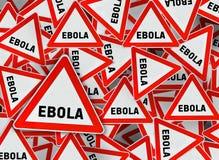 Mycket ebola på rött triangelvägmärke vektor illustrationer