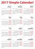Mycket enkel mall för 2017 kalender royaltyfri fotografi