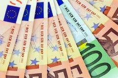 Mycket eurosedlar Arkivfoto