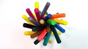 Mycket färgrika pennor Arkivfoton
