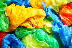 Mycket färgrika plastpåsar Fotografering för Bildbyråer