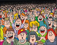 Mycket folk på partiet royaltyfri illustrationer