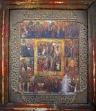 Mycket forntida kristna symboler, målningar av helgonapostlar Royaltyfria Bilder