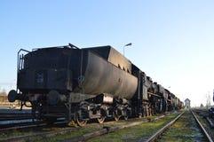 Mycket gammal ångalokomotiv Royaltyfria Foton