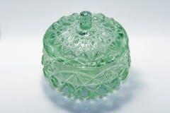 Mycket gammal grön glass bunke fotografering för bildbyråer